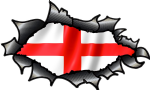 Ripped Torn Carbon Fibre Fiber Design & St Georges Cross England Flag Vinyl Car Sticker 150x90mm (1)